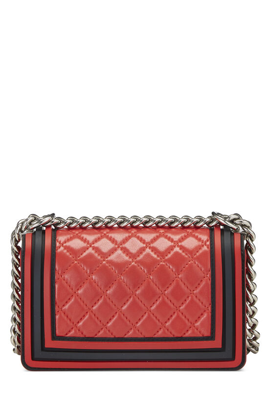 Red Quilted Lambskin Rubberized Boy Bag Small, , large image number 4