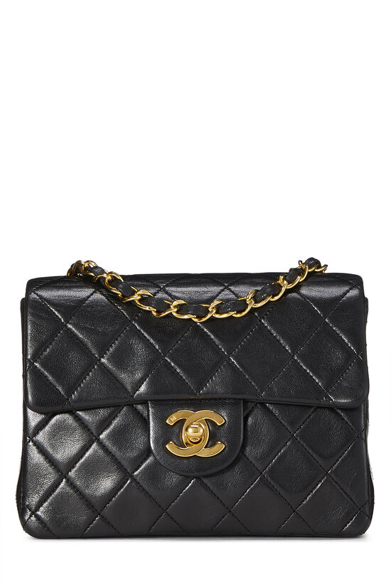 Black Quilted Lambskin Half Flap Mini, , large image number 0