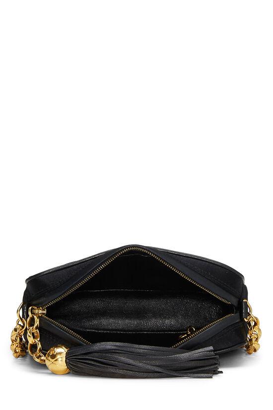 Black Quilted Satin 'CC' Camera Bag Mini, , large image number 5