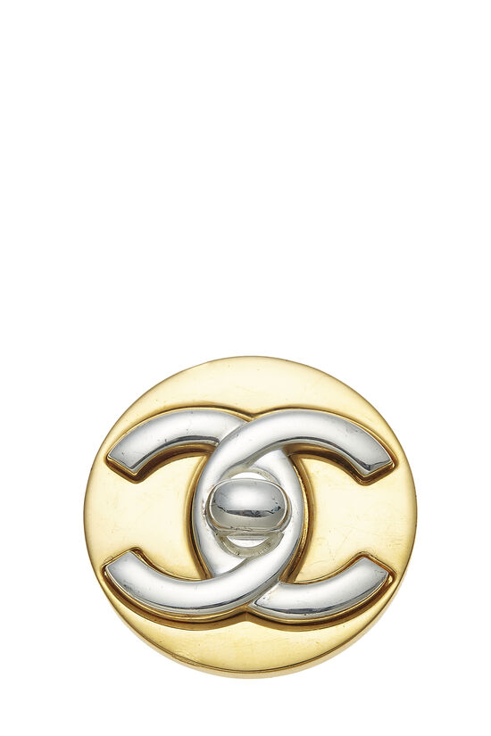 Gold & Silver 'CC' Turnlock Pin Large, , large image number 0
