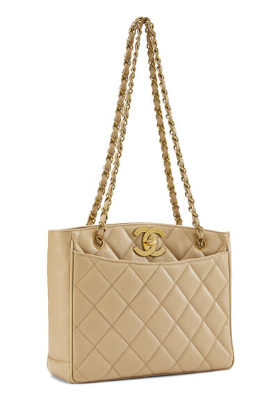 Beige Quilted Caviar Turnlock Tote Small, , large