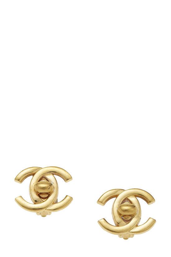 Gold 'CC' Turnlock Earrings Medium, , large image number 0