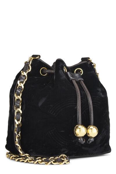 Black Velvet Bucket Bag Small, , large