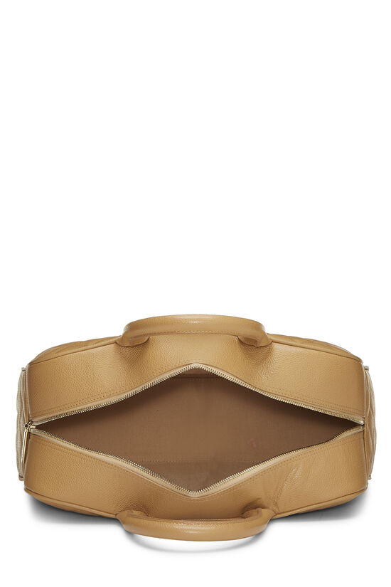 Beige Quilted Caviar Bowler, , large image number 5