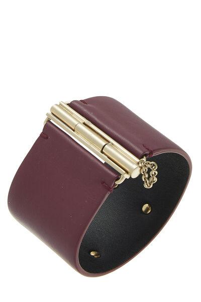 Purple Leather 'CC' Cuff, , large