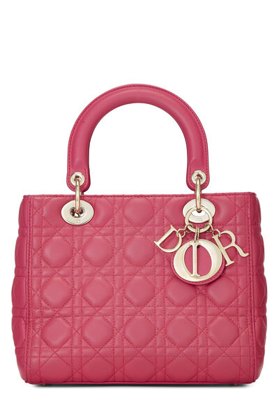Pink Cannage Quilted Lambskin Lady Dior Medium