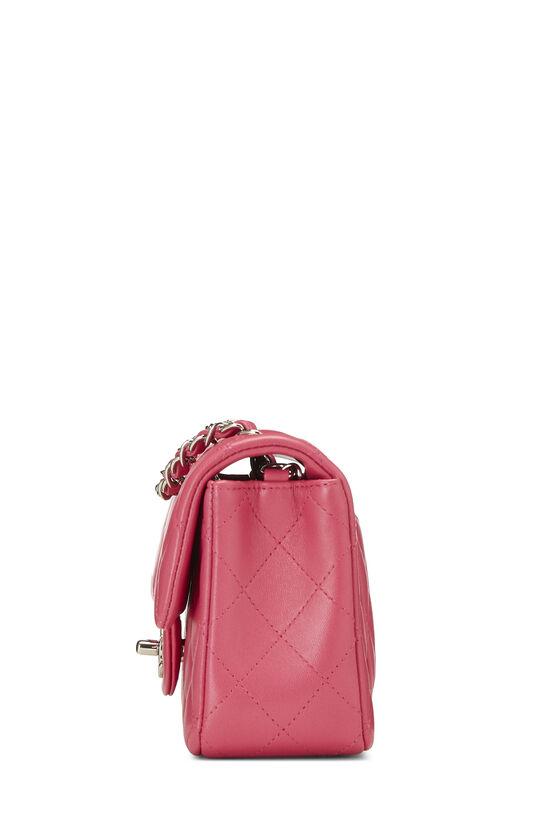 Pink Quilted Lambskin Rectangular Flap Mini, , large image number 2