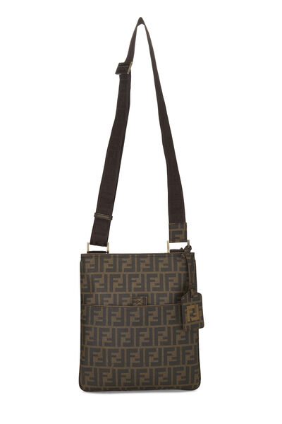 Brown Zucca Coated Canvas Flat Messenger Small, , large