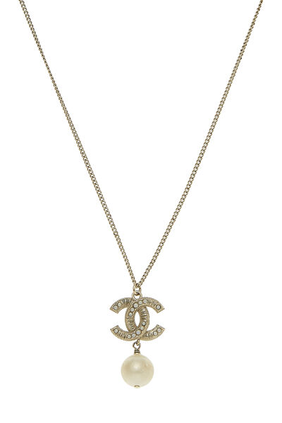 Gold 'CC' & Faux Pearl Necklace, , large