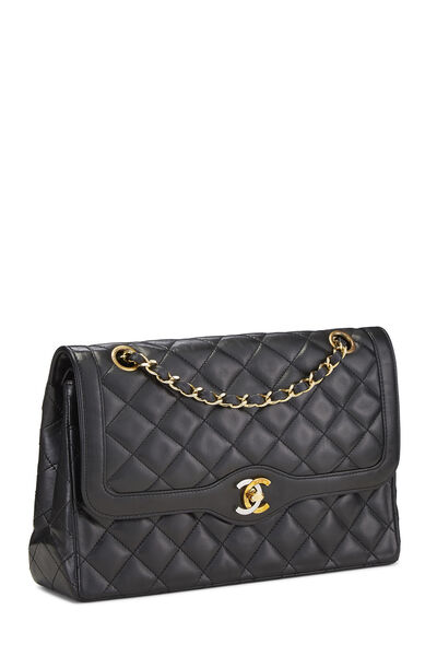 Black Quilted Lambskin Paris Limited Double Flap Medium, , large