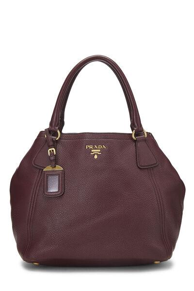 Burgundy Vitello Daino Shoulder Bag