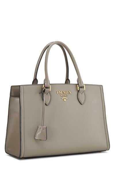 Grey Saffiano Leather Tote, , large