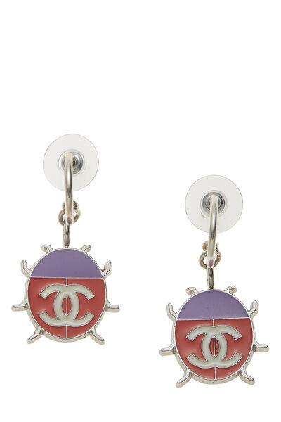 Silver & Pink Enamel Ladybug 'CC' Earrings