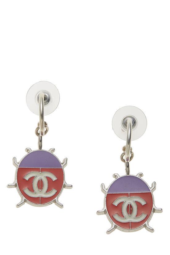 Silver & Pink Enamel Ladybug 'CC' Earrings, , large image number 0