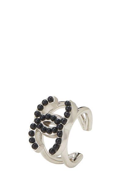 Silver & Black 'CC' Ring