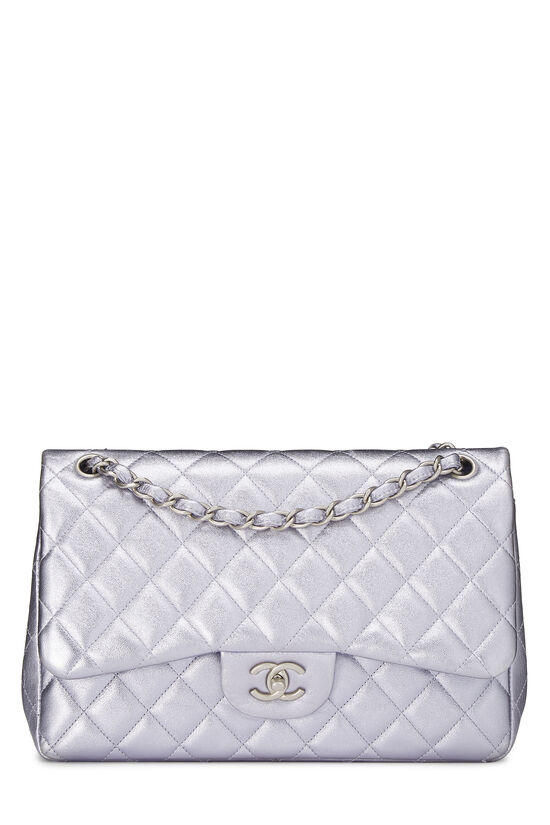 Metallic Purple Quilted Lambskin New Classic Double Flap Jumbo, , large image number 0