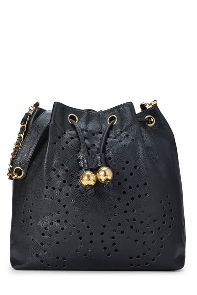 Black Caviar Leather Perforated Bucket Large