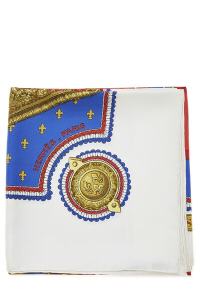 White & Multicolor 'Selles a Housse' Silk Scarf 90, , large