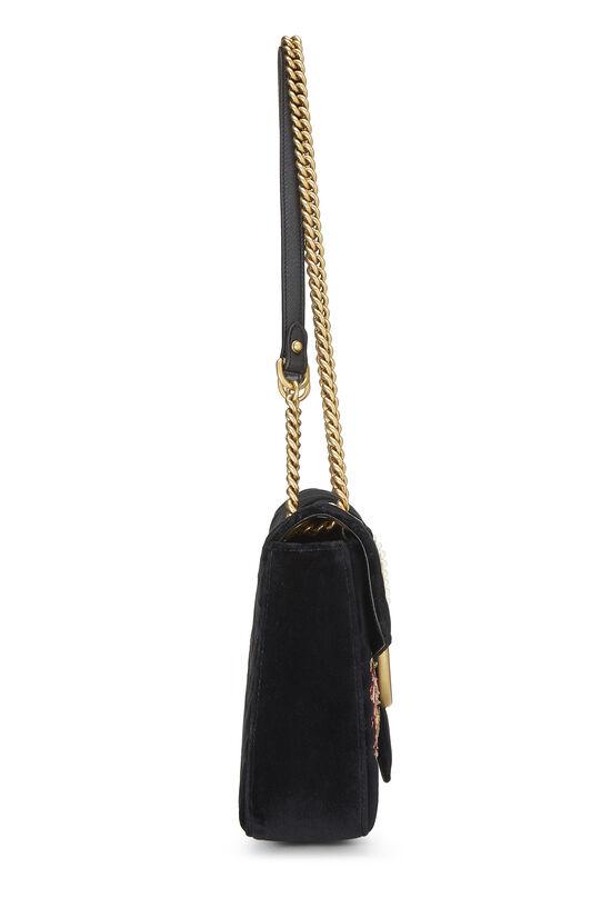 Black Velvet GG Marmont Loved Shoulder Bag, , large image number 2