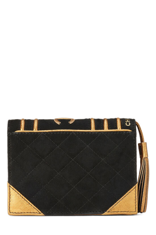 Black Quilted Suede Bible Clutch , , large image number 3