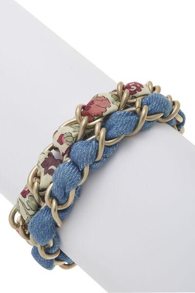 Gold Woven Chain 'CC' Bracelet, , large