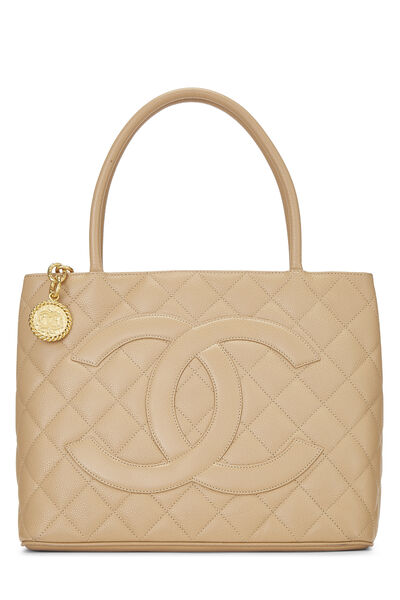 Beige Quilted Caviar Medallion Tote