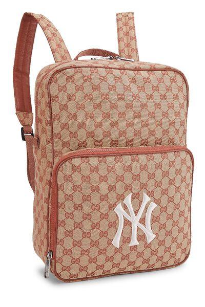 Orange GG Canvas New York Yankees Backpack, , large