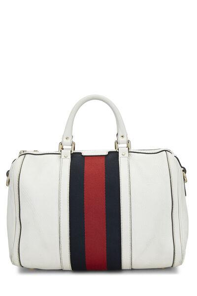 White Leather Web Boston Bag