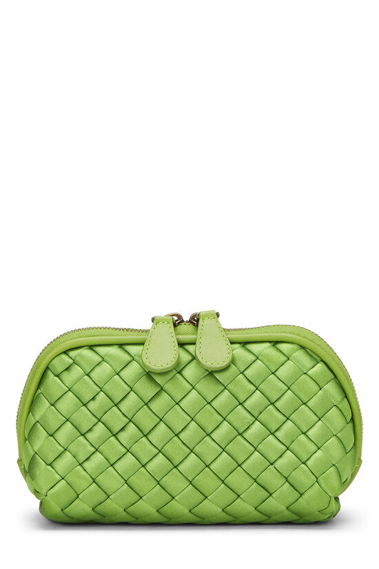 Green Intrecciato Satin Cosmetic Pouch, , large image number 2