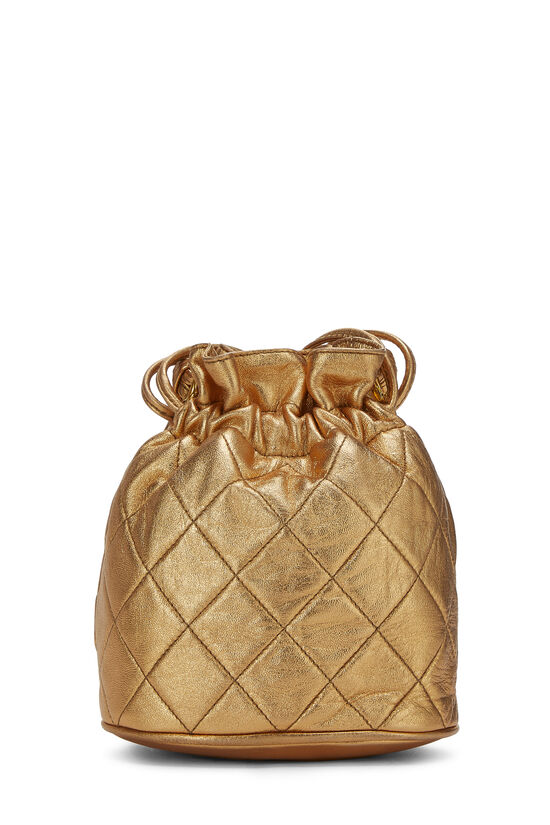 Metallic Copper Quilted Lambskin Bucket Bag Mini, , large image number 3