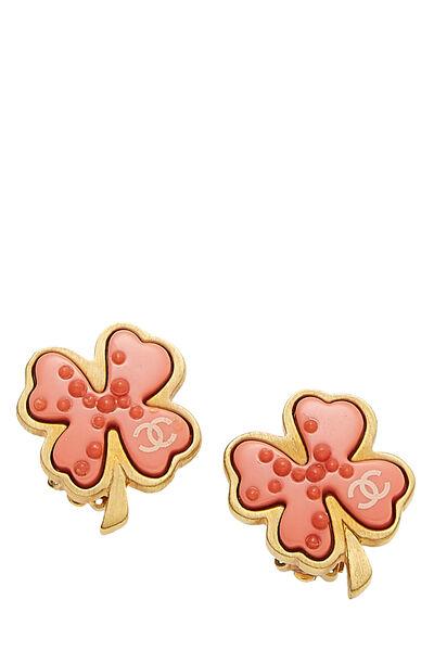 Gold & Pink Enamel Clover Earrings