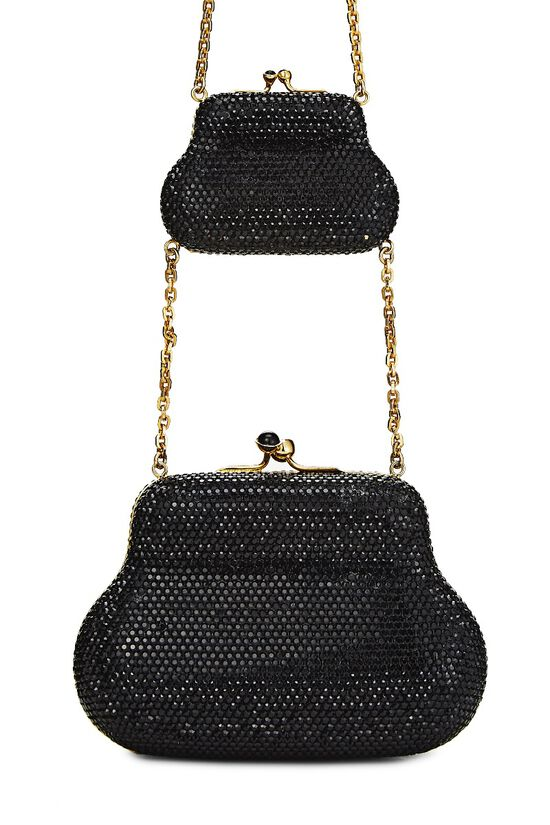 Black Crystal Double Purse Minaudiere, , large image number 6