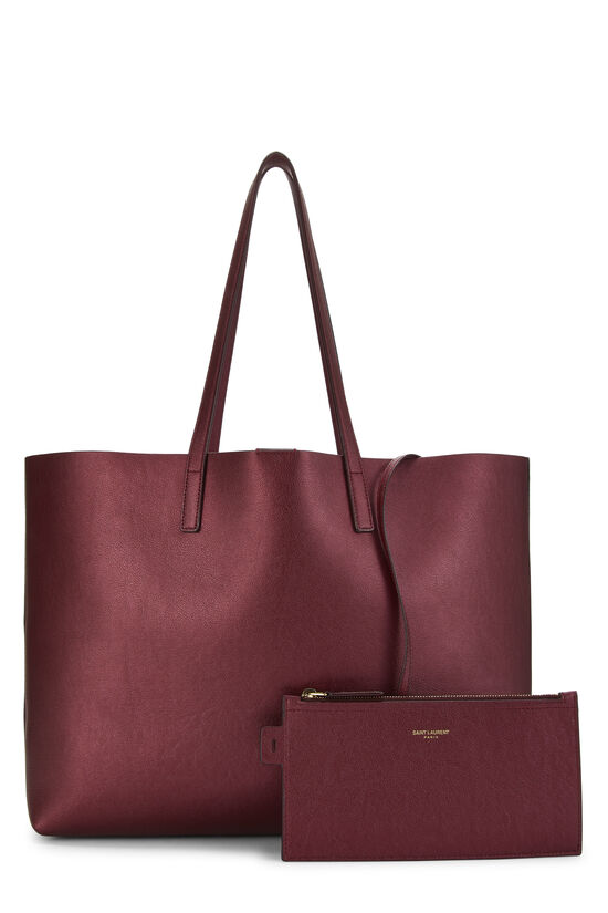 Metallic Burgundy Leather Shopping Bag East/West, , large image number 3