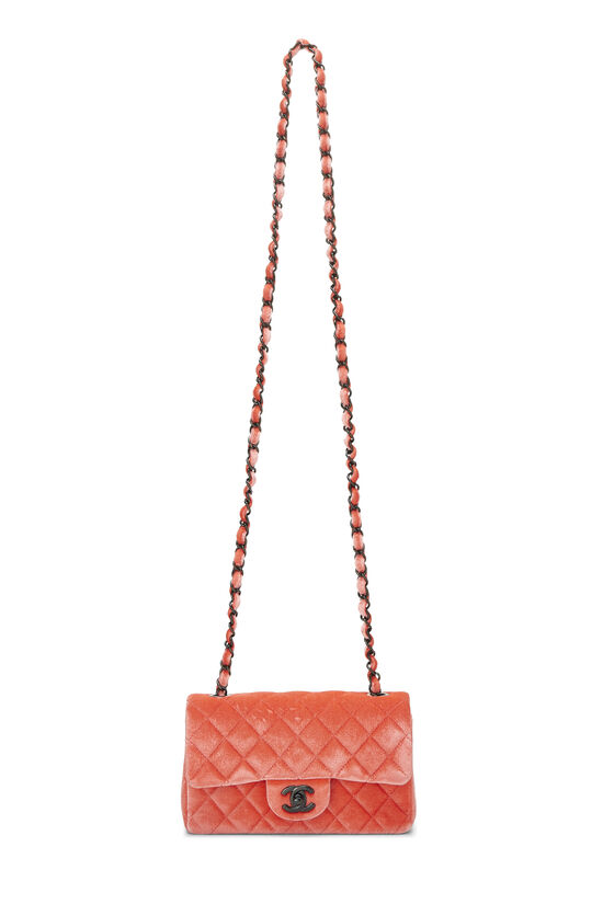 Coral Quilted Velvet Half Flap Small, , large image number 1