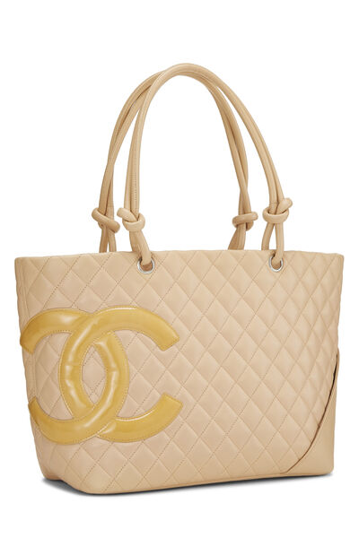 Beige Quilted Calfskin Cambon Tote Large, , large