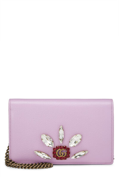 Pink Leather GG Marmont Wallet on Chain Mini