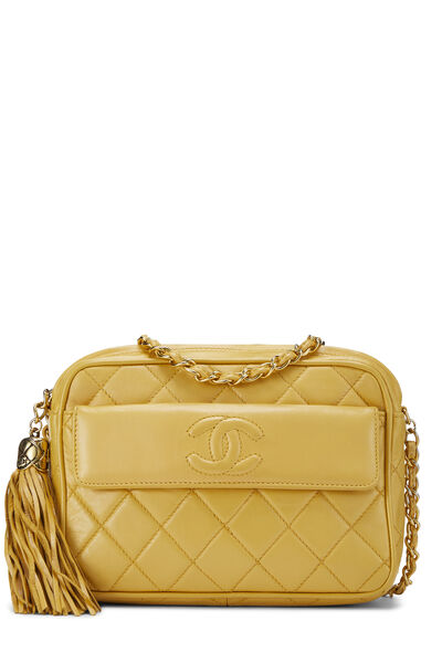 Yellow Quilted Lambskin Pocket Camera Bag Mini