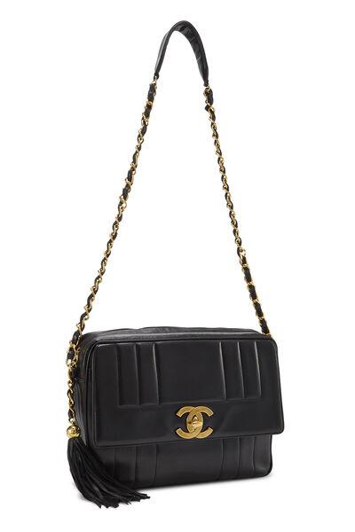 Black Vertical Lambskin Pocket Camera Bag Jumbo, , large