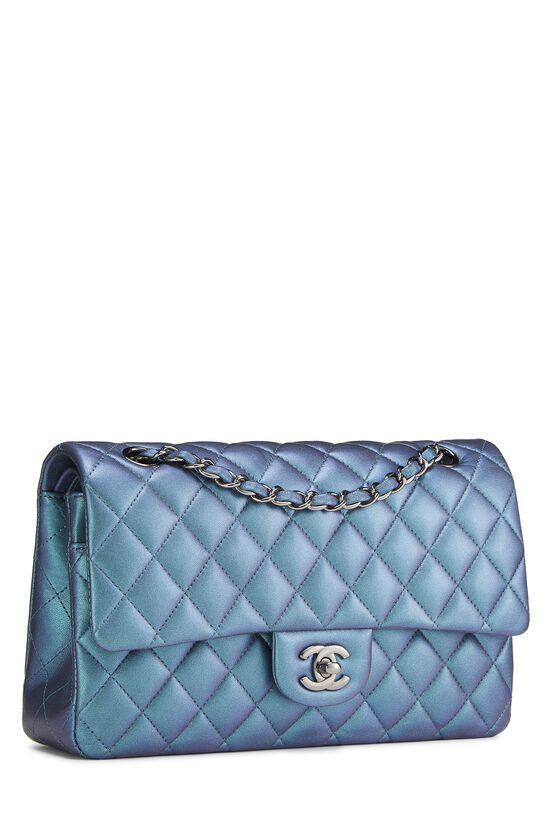 Iridescent Blue Quilted Lambskin Classic Double Flap Medium, , large image number 1