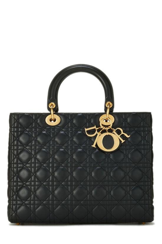 Black Cannage Lambskin Lady Dior Large, , large image number 0
