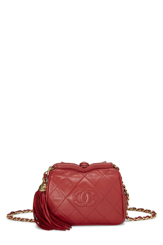 Red Quilted Lambskin Kiss Lock Belt Bag, , large image number 0