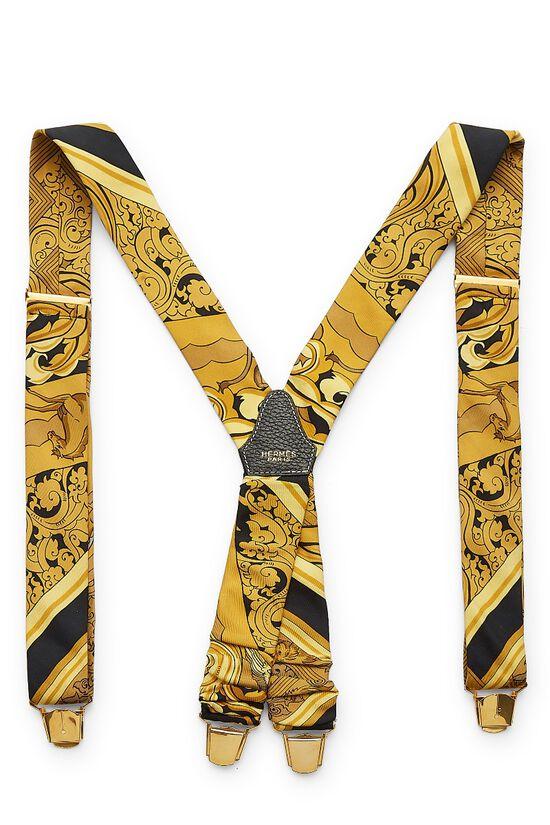 Yellow & Black Silk Suspenders, , large image number 1