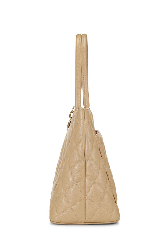 Beige Quilted Caviar Medallion Tote, , large image number 2