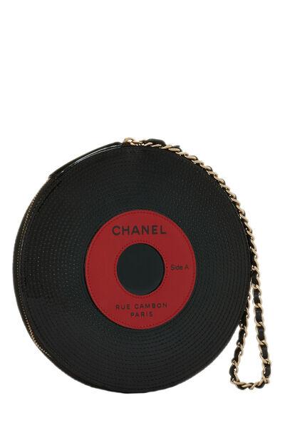 Black Patent Vinyl Record Clutch, , large