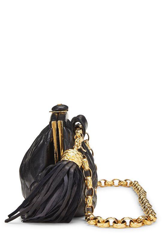 Black Quilted Lambskin Tassel Belt Bag, , large image number 2