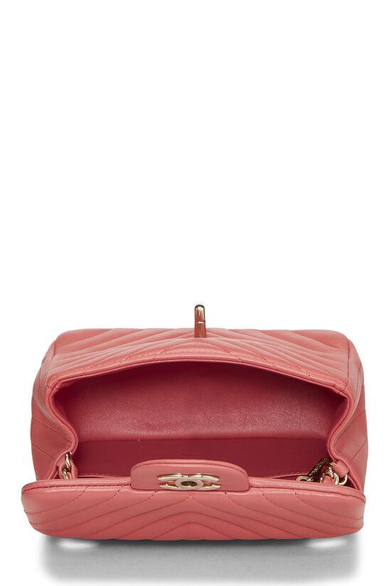 Pink Chevron Lambskin Classic Square Flap Mini, , large image number 5
