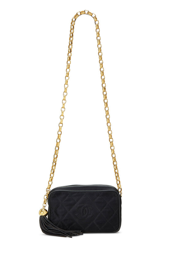 Black Quilted Satin 'CC' Camera Bag Mini, , large image number 6