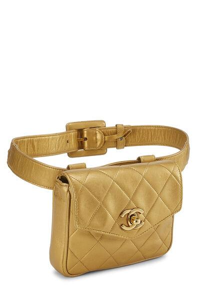 Gold Quilted Lambskin Envelope Belt Bag, , large