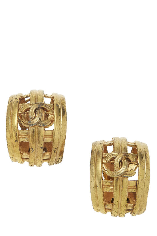 Gold 'CC' Cage Earrings, , large image number 0
