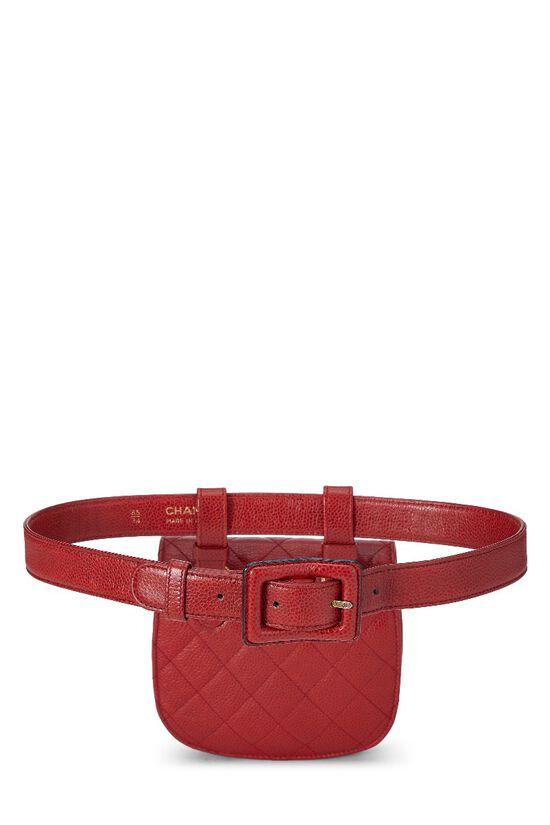 Red Quilted Caviar Belt Bag, , large image number 3